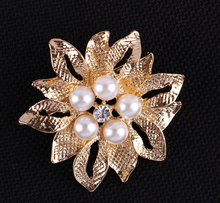 hot sall brooches for women Wedding Bridal gold and Silver Flower Diamante Faux Pearl Brooch Pins