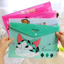 Cute Cartoon Plastic Document A4 Paper Bag File Folder Big Briefcase Filing Products Office School Stationery Storage Bag PB021
