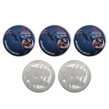 WR Spinosaurus  Dinosaur Series Colorized Silver Challenge Coin Thanksgiving Gift 999.9 Silver Plated Metal Coins for Gifts