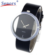 Superior New Women's PU Leather Transparent Dial Hollow Analog Quartz Wrist Watch Relogio Masculino Hot 2017 Newly Designed