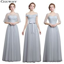 CEEWHY Light Gray 4 Style One-Shoulder A-Line Tulle 2017 Elegant Bridesmaid Dresses Long Wedding Party Dress Formal Gowns