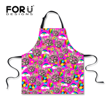 FORUDESIGNS Cute Kitty Cat Printing Cooking Aprons Retro Cartoon Apron for Women Pink Polyester Female Home Chef Apron