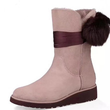Fashion Winter Angelababy Femal Snow Boots Fur Strap Big Fuzzy Ball Round Toe Low Heel Wedges Three Colors Slip On Mid Calf(China)
