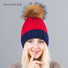 Fashion winter hat real fur ball cap pom poms winter hat for women girl 's hat knitted beanies cap brand new thick female cap(China)