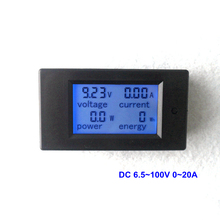 DC Voltmeter Ammeter DC 6.5~100V 0~20A Digital LCD Display Voltage Detector Current Tester Battery Indicator Power Energy Meter(China)