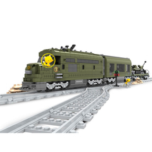 Rail Model Building Kits Compatible Lepin MILITARY TRAIN 764 pcs 3D blocks Educational model building toys hobbies for children