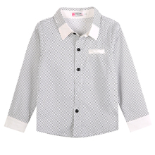 Fashion Cool Kids Boys Formal Shirt Casual Long Sleeved Polka Dot Cotton Shirt 3-8Years White Black(China)