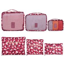Waterproof Clothes Storage Bag Packing Cube Organizer Pouch Travel Luggage Suitcase Lingerie Cosmetic Closet Divider Bags 6 PCS(China)