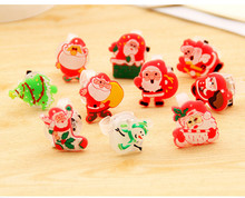50pcs/lot Christmas Favors Led Party Supplies Cartoon Finger Ring Flashing Light Up Ring Toy Santa Claus Rings Party Decoration