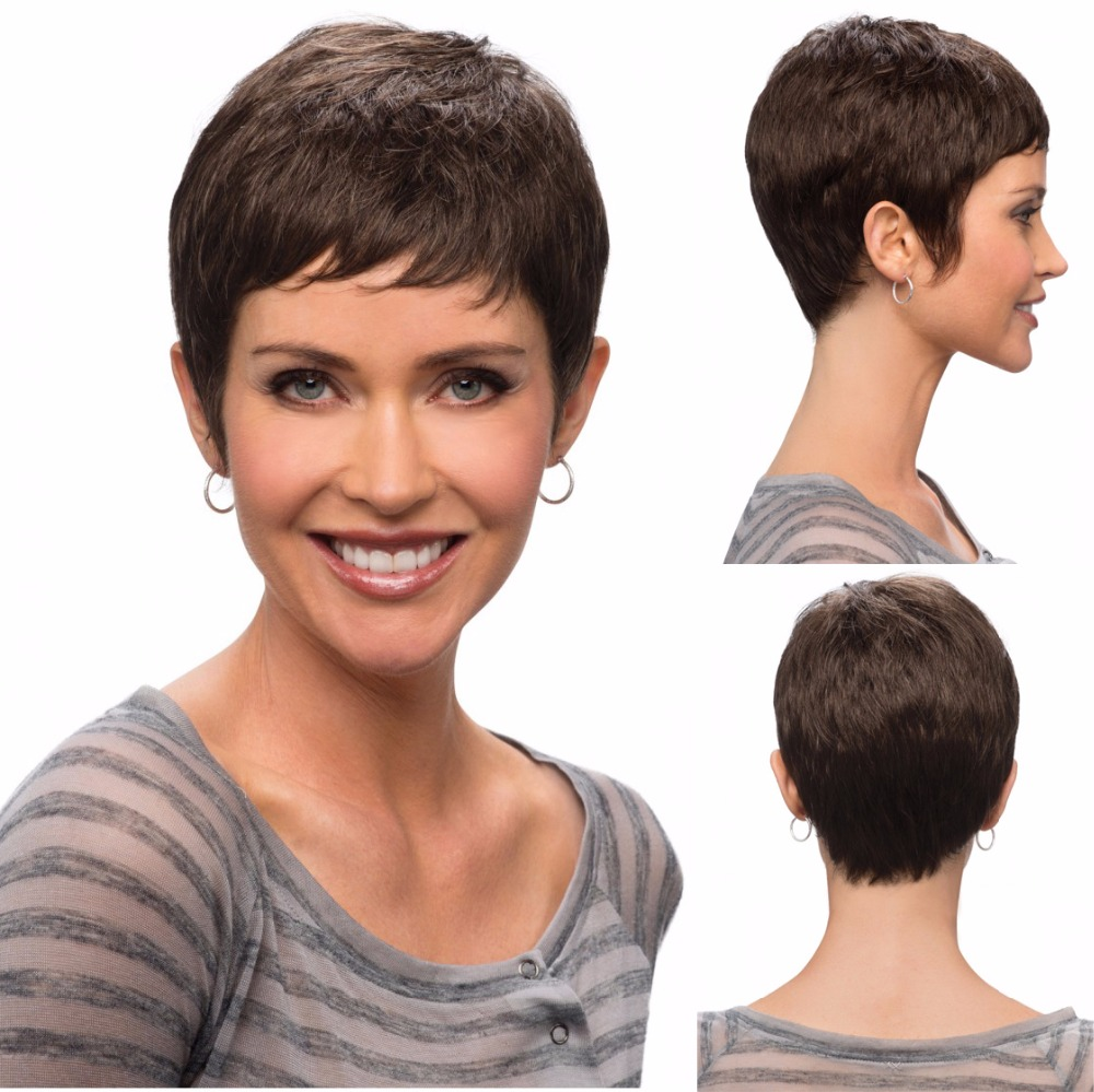 Women Short pixie wigs blonde synthetic Peruk straight shape with face-framing full bangs short hair wigs for black women<br><br>Aliexpress