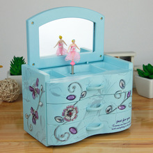 Fashion Style Dresser Model Eight Music Box Music Box Storage Box Crafts Boutique Diy Wooden Doll House  girl Gifts toys BY21