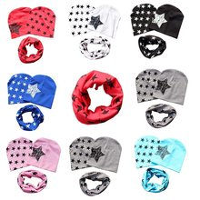 1 set cotton Baby hat scarf Kids Hat Autumn Winter Children scarf-collar Boys Girls warm Beanies Star print Infant Hats(China)