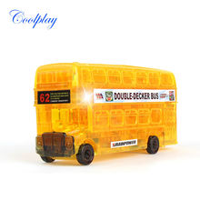 Coolplay 54pcs CP9062 DIY Funny Double-Decker Bus 3D Crystal Puzzles assembled model birthday new year gift children toy for kid