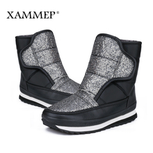 XAMMEP Women's Winter Shoes Plus Big Size Brand Women Shoes Plush And Wool High Quality Women Winter Boots Mid Calf Boots(China)