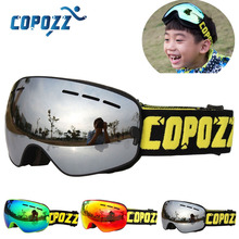 COPOZZ Brand Kids Ski Goggles 4-15 years old Professional Anti-fog Child Snowboard Goggles Double UV400 Kids Skiing Mask Glasses(China)