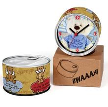 Free Shipping Teddy Bear 2pcs/lot Angel Wing Bear Kitchen Fridge Magnets Aluminum Can Wall Clocks,Metal Tin Desk Clocks