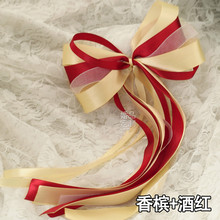6pcs/set  Custom Simulation Flowers Ribbon Garland Wedding Car Flower Bow Supplies Escalator  Door Handle Flowers