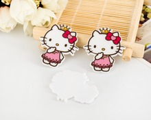 KT cat kawaii Hello Kitty Figurine home decoration crafts flat back planar resin DIY phone hair Bow accessories 7578(China)