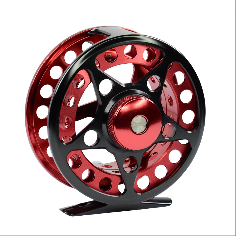 Dounle color fly fishing reel FHU 6061Aluminium 4/5 6/7 size CNC machined Fly reel with Large Arbor<br>