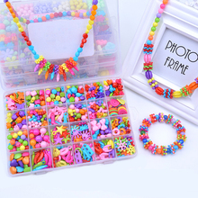 Girl Kid Educational toys DIY Toys Colorful Beads For Children String Beads Make Up Puzzle Toy Jewelry Necklace Bracelet Toys(China)