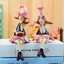 2pcs/lot Cartoon Flower Fairy Figurines Decoration,Manual Drawing Resin Craft Home Decor Angel Girls dolls for Child Birthday