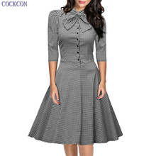 COCKCON 2017 Summer Fashion Women Vintage Dress Hot 7 Points Sleeve Plaid Office Dress Beautiful Cheap Princess Dresses