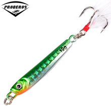 1PC Jigging Lead Fish 12G/5.5CM Metal Jig Fishing Lure 4 Colors Metal Wobbler with Feather Hooks Artificial Hard Bait