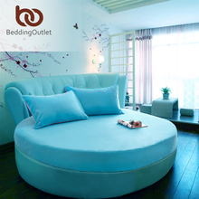 Panic Buying Round Fitted Sheet Turquoise Dust Proof Bed Linen Simple Nice Visual Enjoyment Bedding Set 1Pc 2 Size