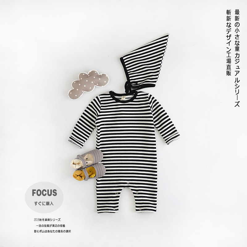 Baby Clothing Infant Rompers 0-2 Years Clothing Baby Boy Girl 100% Cotton Striped Siamese Long-sleeved Baby Sets<br><br>Aliexpress