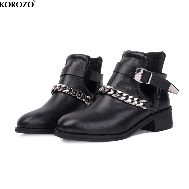 2017 Women Mental Chain Short Boots Motorcycle Ankle Booties Buckle Hollow Out Shoes<br>