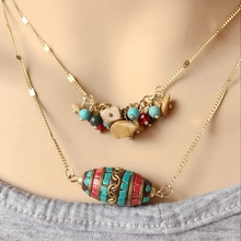 Free Shipping New Bohemia Style Double Layers Vintage Fashion Pendant Necklace(China)