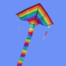 Ripstop Nylon Wing Kites Rainbow Color Triangle Long Tail Flying Kite Outdoor Funny Children Kids Toy Handle Line(China)