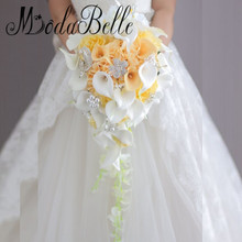 modabelle Custom Artificial Waterfall Bridal Bouquet Broach Bouquet Cascade Bling Crystal Wedding Bouquets White/Yellow/Red