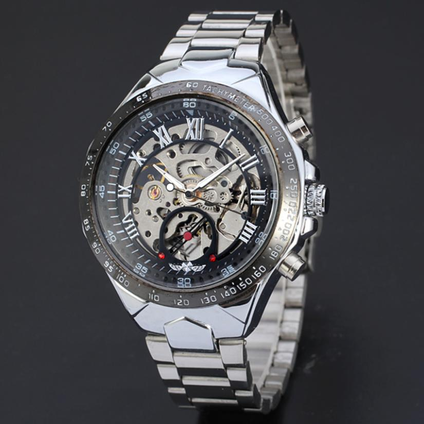 Perfect Gift Automatic Watches For Men Silver Stainless Steel Wrist Watch Mechanical Wristwatches Levert Dropship June01P50<br><br>Aliexpress