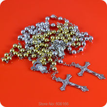12x Rosary Beads INRI JESUS Cross Crucifix Pendant Necklace Catholic Fashion Religious jewelry Wholesale(China)