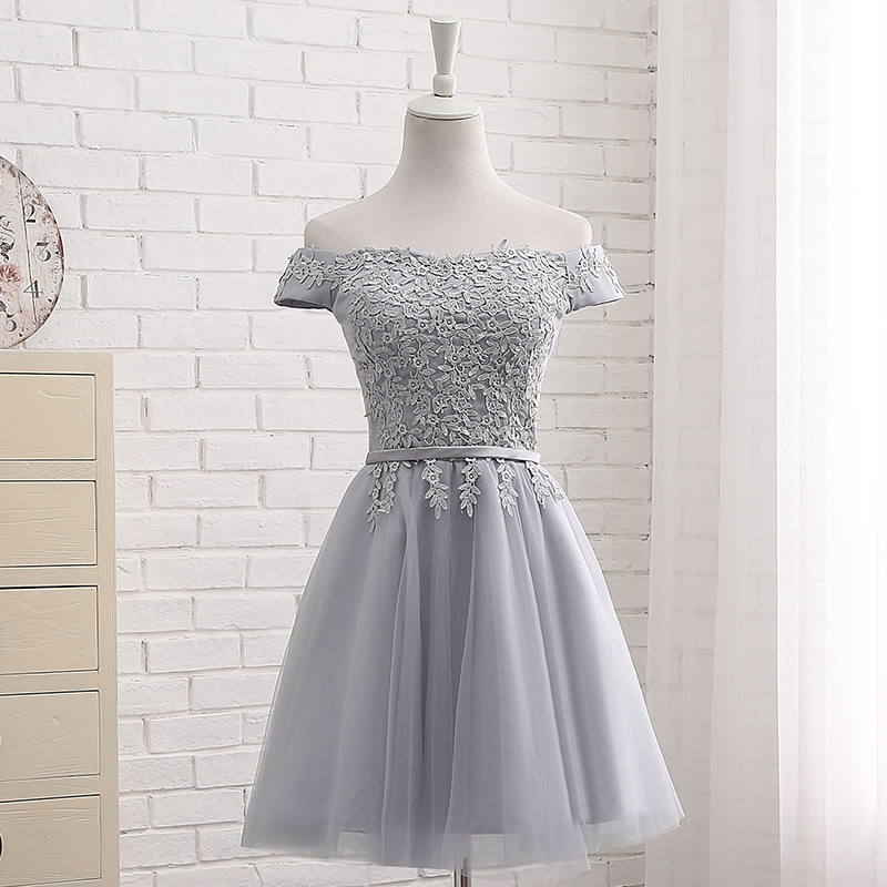 LAMYA Short Chiffion A Line Prom Dresses 2018 Boat Neck Lace Evening Party Dress Cheap Elegant Special Occasion Gowns 7