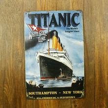 Titanic White Star Line The World's Largest Liner Letter Vintage Home Decor Shabby Chic Metal Sign Bar Cafe pub Vintage Tin Sign(China)