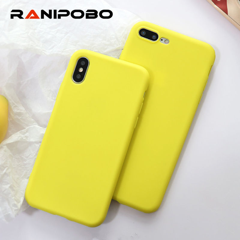 Yellow Candy TPU Phone Case for Iphone XS 7 6 case Solid Scrub Silicon Case for IPhone 6 6S 8 plus X protection Back Cover coque