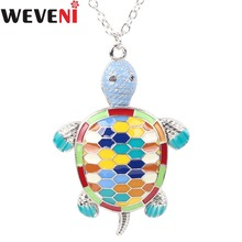 WEVENI Statement Enamel Turtle Tortoise Necklace Pendants Collar 2017 New Fashion Accessories OCEAN COLLECTION Jewelry For Women(China)