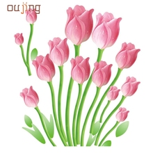 Fashion Heaven Wallpaper Romantic Tulips Wall Decals Living Room Bedroom Removable PVC Wall Stickers Mural Free Shipping Apr04
