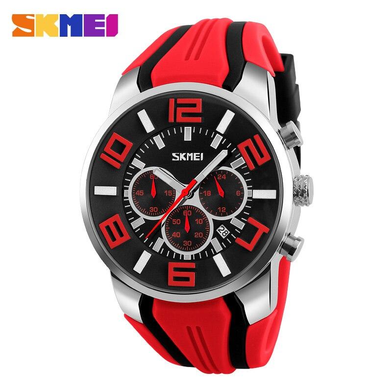 SKMEI Brand Men Wristwatches Sport  Fashion Casual Quartz Watches Silicone Strap Stop Watch Auto Date Big Dial Man Clock 9128<br><br>Aliexpress