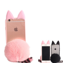 DIY 3D Gril Cute Pussy Plush Cat Ear Mouse Silicone Hard Case For Iphone 5 5S 6 6S 7 Plus+Furry Fur Ball Cover Coque Fundas Capa