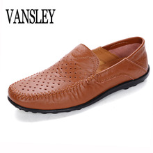 Summer Mens Shoes Big Size 38-47 Openwork Slip Casual Men Shoes Italy Loafers Moccasins Shoes Leather Loafers Flats Shoes