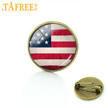 TAFREE American flag brooches jewelry USA British Irish South African flag pins men women Vintage national symbol badges T234(China)