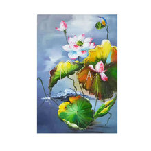 Modern mural canvas white lotus definition canvas home decoration living room wall group painting (frameless)(China)