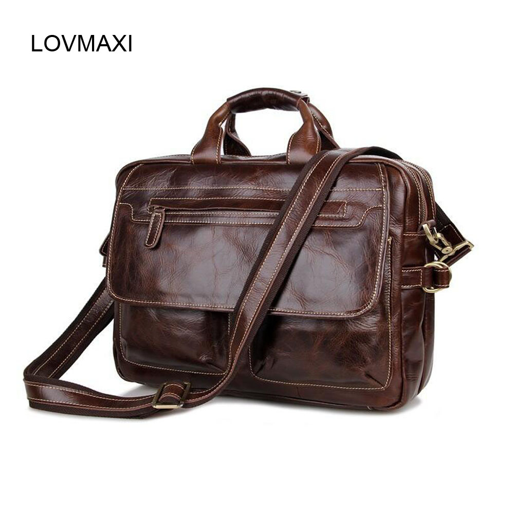 2016 100% Real Cow Leather Man Bags Business Handbags Wax Oil Leather Briefcases Male Shoulder Bags 7085 Brown TOTE<br><br>Aliexpress