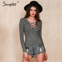 Simplee Apparel Autumn charcoal sexy v neck knitted tops women pullover Lace up slim long sleeve tops Elastic cross bodycon OL