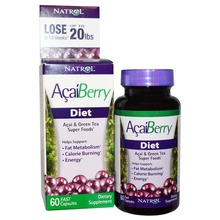 Acaiberry Diet, Acai & Green Tea Super Foods fat metabolism calorie burning energy 60 Capsules