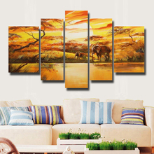 5pcs/set Hand-Painted Wall Art Home Decoration Landscape Africa Elephant Oil Painting On Canvas No Framed