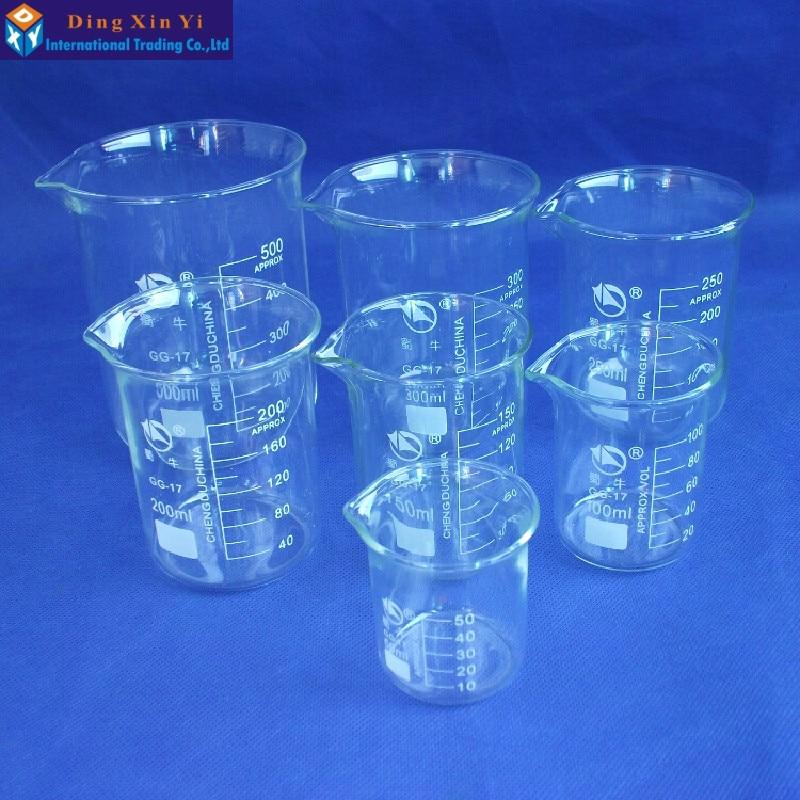 SHUNIU Glass Beaker 7 Pcs Set 50, 100, 150,200. 250,300,500ml Low form with graduation Glass Chinese famous brand<br>